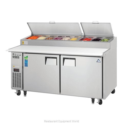 Everest Refrigeration EPPR2 Refrigerated Counter, Pizza Prep Table