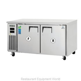 Everest Refrigeration ETRF2 Refrigerator Freezer, Undercounter, Reach-In