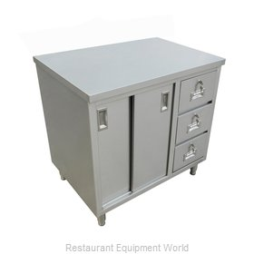 Food Machinery of America 44196 Work Table, Cabinet Base Sliding Doors