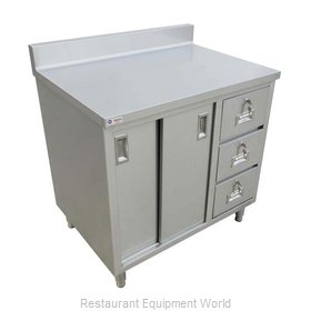 Food Machinery of America 45284 Work Table, Cabinet Base Sliding Doors