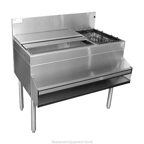 Glastender CBB-36R-CP10 Underbar Ice Bin Cocktail Bottle Well Bin