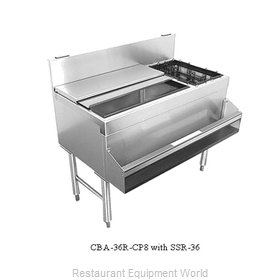 Glastender CBB-54-CP10 Underbar Ice Bin Cocktail Bottle Well Bin