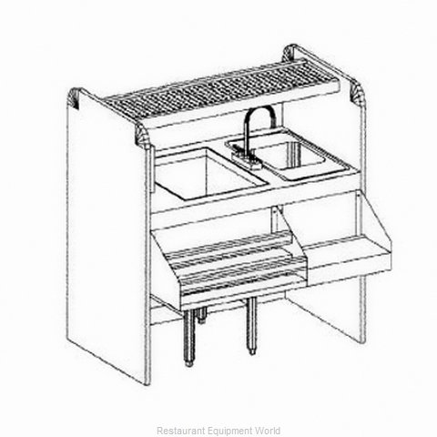 Glastender CS-42X26-CCW-S Underbar Ice Bin/Cocktail Station, Pass-Thru Combo (Magnified)