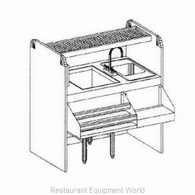 Glastender CS-42X26-CCW-S Underbar Ice Bin/Cocktail Station, Pass-Thru Combo