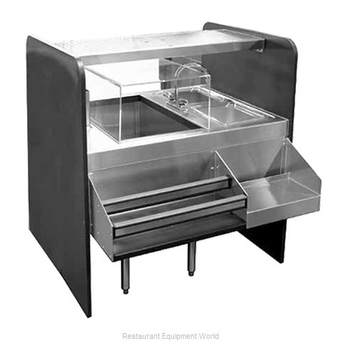 Glastender CS-42X32-CCW-S Underbar Ice Bin/Cocktail Station, Pass-Thru Combo
