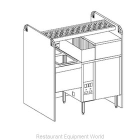Glastender CS-42X32G-CCW Underbar Ice Bin/Cocktail Station, Pass-Thru, Glasswash