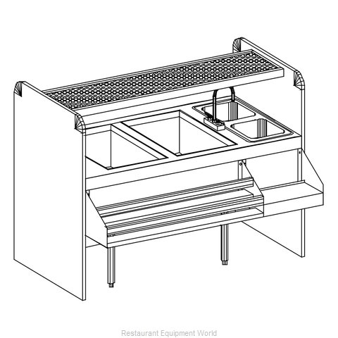 Glastender CS-60X32-CW Underbar Ice Bin/Cocktail Station, Pass-Thru Combo