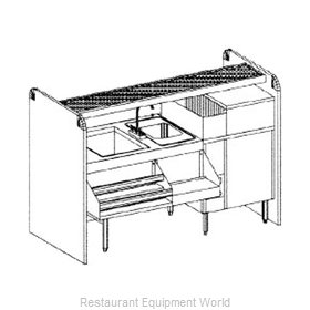 Glastender CS-66X26-CCW Underbar Ice Bin/Cocktail Station, Pass-Thru, Glasswashe