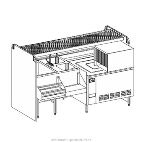 Glastender CS-72-CCW-S Underbar Ice Bin/Cocktail Station, Pass-Thru, Glasswasher