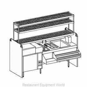 Glastender CS-84-CW-S Underbar Ice Bin/Cocktail Station, Pass-Thru, Glasswasher