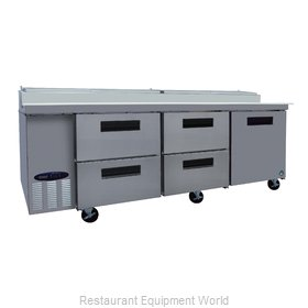 Hoshizaki CPT93-D4 Refrigerated Counter, Pizza Prep Table