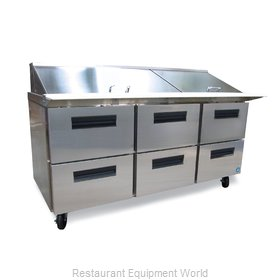Hoshizaki CRMR72-30MD6 Refrigerated Counter, Mega Top Sandwich / Salad Unit