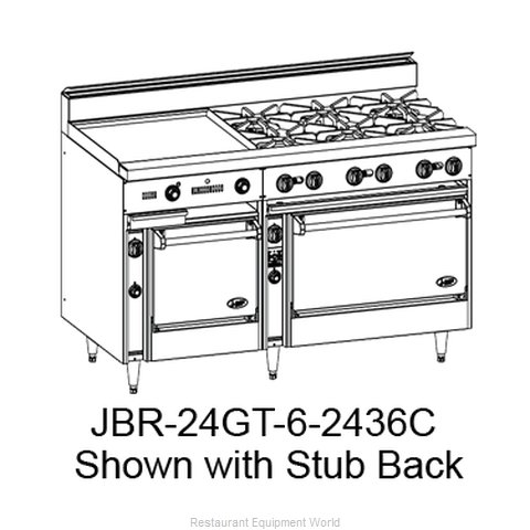 Jade Range JBR-24GT-6-2436 Range 60 6 open burners 24 griddle with thermost