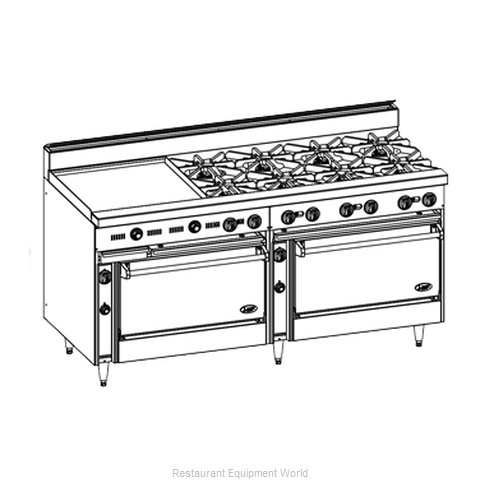 Jade Range JBR-24GT-8-36 Range 72 8 open burners 24 griddle with theromstat