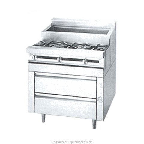 Jade Range JMSS-03-T-36 Range 36 3 open burners front cold pan rear (Magnified)