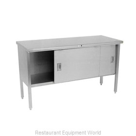John Boos 140-13 Work Table, Cabinet Base Sliding Doors