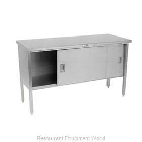 John Boos 160-15 Work Table, Cabinet Base Sliding Doors