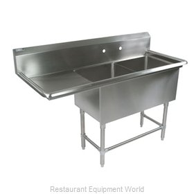 John Boos 2PB1824-1D18L Sink, (2) Two Compartment