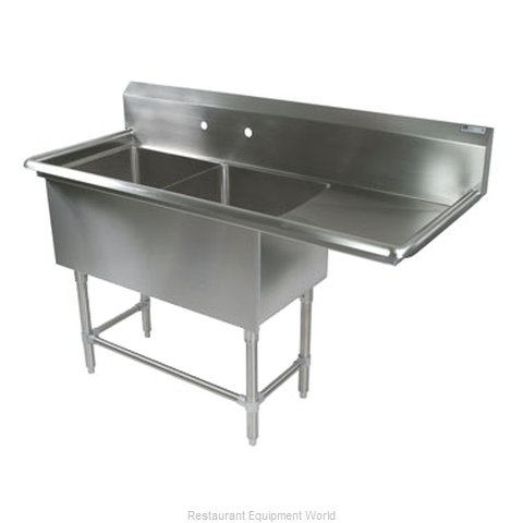 John Boos 2PB1824-1D24R Sink 2 Two Compartment