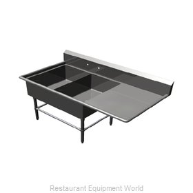 John Boos 2PB2028-1D24R Sink, (2) Two Compartment
