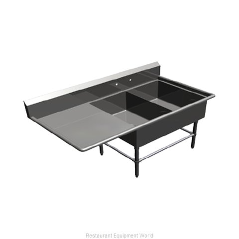 John Boos 42PB2028-1D24L Sink 2 Two Compartment