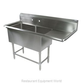 John Boos 42PB24-1D24R Sink 2 Two Compartment