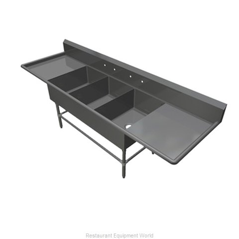 John Boos 43PB1824-2D18 Sink 3 Three Compartment (Magnified)
