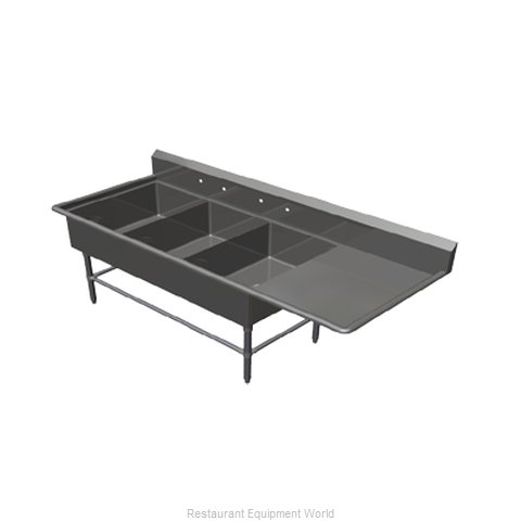 John Boos 43PB20284-1D30R Sink, (3) Three Compartment