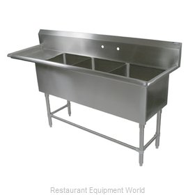 John Boos 43PB24-1D24L Sink 3 Three Compartment