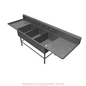 John Boos 43PB30244-2D30 Sink 3 Three Compartment