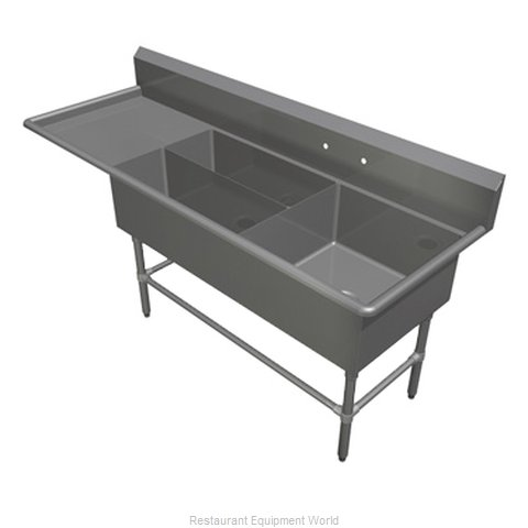 John Boos 43PBPS3224-1D30L Sink 3 Three Compartment (Magnified)