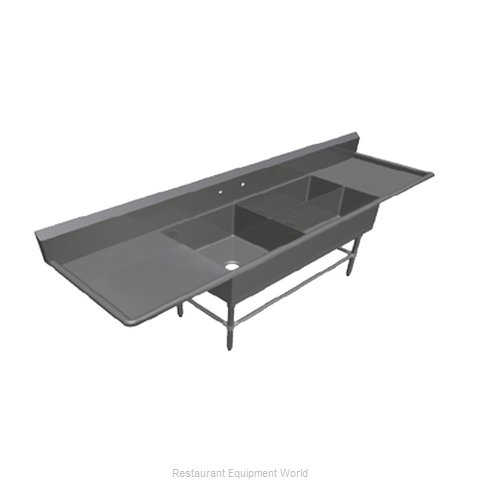 John Boos 43PBPS32244-2D24 Sink 3 Three Compartment (Magnified)