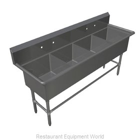 John Boos 4PB18244 Sink, (4) Four Compartment