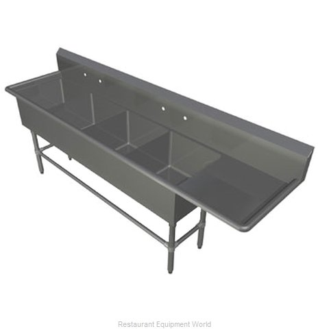 John Boos 4PB3024-1D36R Sink, (4) Four Compartment