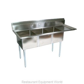 John Boos E3S8-101410R15-X Sink, (3) Three Compartment