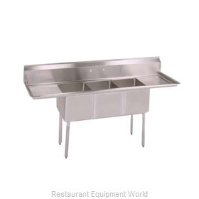 John Boos E3S8-15-14T15-X Sink, (3) Three Compartment