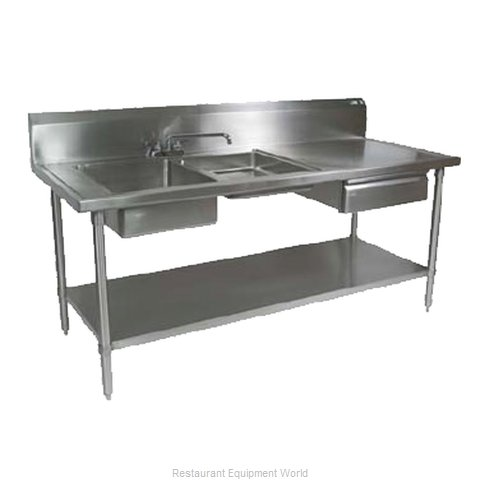 John Boos EPT6R10-DL2B-96L Work Table 96 Long with Prep Sink