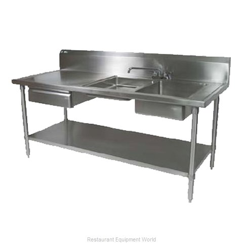 John Boos EPT6R10-DL2B-96R Work Table 96 Long with Prep Sink (Magnified)