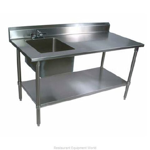 John Boos EPT6R53072GSKL Work Table 72 Long with Prep Sink