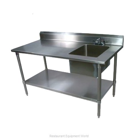 John Boos EPT8R5-3072SSK-R Work Table 72 Long with Prep Sink
