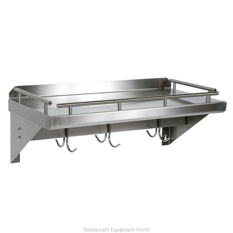 John Boos GRWS36-UB Overshelf Wall-Mounted With Pot Rack