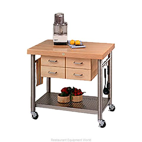 John Boos VEN3626 Thick Hard Maple Top Butcher Block Table (Magnified)
