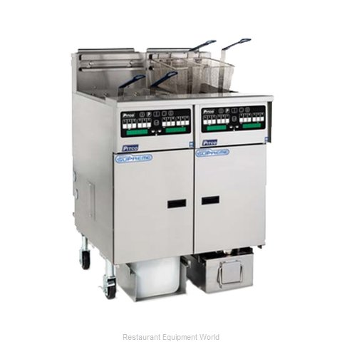 Pitco SSHLV14T-C/FD Fryer, Gas, Floor Model, Split Pot