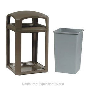 Rubbermaid FG397000SBLE Trash Receptacle, Outdoor/Indoor