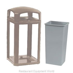 Rubbermaid FG397500DWOOD Trash Receptacle, Outdoor/Indoor