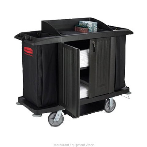 Rubbermaid FG619100BLA Housekeeping Cart (Magnified)
