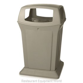 Rubbermaid FG917388BEIG Trash Receptacle, Outdoor/Indoor