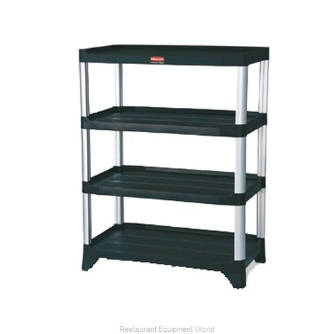 Rubbermaid FG9T3600BLA Shelving Unit, Plastic with Metal Post (Magnified)