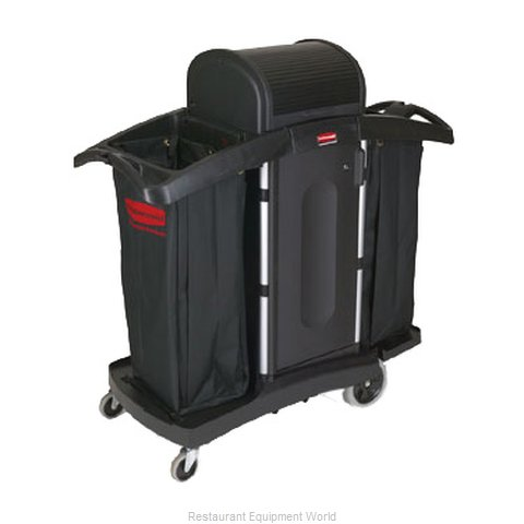Rubbermaid FG9T7800BLA Housekeeping Cart (Magnified)