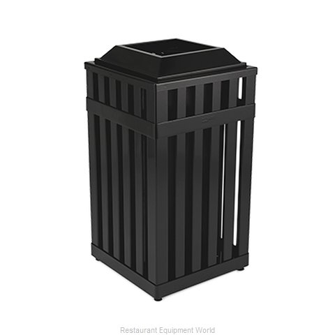 Rubbermaid FGMHSQ18PLBK Trash Receptacle, Outdoor/Indoor